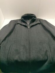 Mens Calvin Klein Wool Blend Tweed Pattern M Gray Coat w Double Zip Size Medium