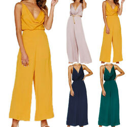Women's Chiffon Playsuit Summer Party V Neck Jumpsuit Rompers Wide Leg Trousers