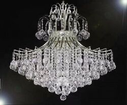 French Empire Crystal Ball Chandelier Chandeliers Lighting Silver H30 X Wd24 $552.22