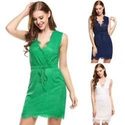 Women Casual Sleeveless Floral Lace V Neck Pullover Pencil Dress TXGT