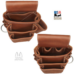 AMISH LEATHER TOOL POUCH Construction Work Belt Bag Set Left Right USA HANDMADE $169.97