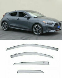 Wellvisors Side Window Visors Deflector Smoke Sun For Veloster Hatchback 2019 Up $63.99