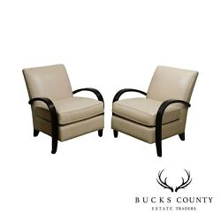 McCreary Modern Room amp; Board Art Deco Style Pair Leather Lounge Chairs A $1495.00