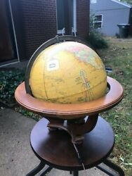 Illuminate [vintage] George Cram [Butler] Globe On Wooden Stand