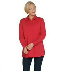 Martha Stewart Stretch Poplin Button Front Blouse Dragonfruit A309515 Size 1X