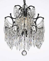 Wrought Iron Crystal Chandelier Chandeliers Lighting Mini H.14quot; x W.11quot; 1 Light $193.99