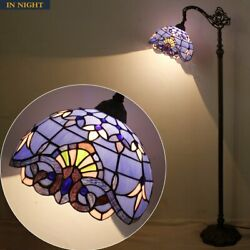 Tiffany Style Reading Floor Lamp Lavender Stained Glass Blue Purple Baroque Lamp $259.00