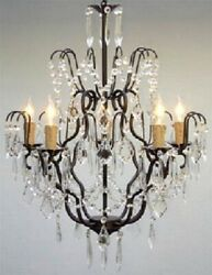 Wrought Iron Crystal Chandelier Lighting H27quot; X W21 $138.00