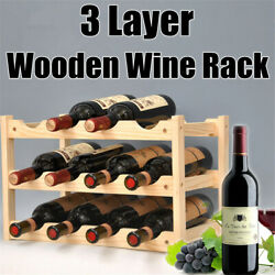 3 Layers Wooden Wine Rack 12 Bottles Storage Shelf Home Bar Cabinet