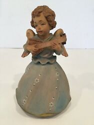 Vintage ANRI Italy Hand Carved Wooden Angel Music Box Reuge The Magic Flute 6.5