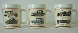 3 Thermo-Serv Mugs Vintage Cars Chevrolet Franklin Ford Chandler Plymouth Kissel