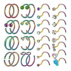 32PCSLOT CZ Nose Rings Hoop Screw Nose Stud Surgical Steel Piercing Jewelry 20G $13.99