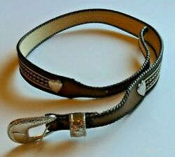 Wrangler Women#x27;s Brown Leather Belt with Stitchwork Hearts Silver Buckle $12.00