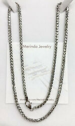 "18k Solid White Gold Wheat Chain Necklace 24"". 11.87 Grams $913.97"