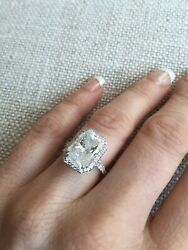 HALO DIAMOND RING WHITE GOLD Radiant Diamond 5.04 CARATS (Center Stone Weight) $11,000.00
