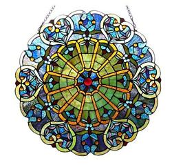 Stained Glass Chloe Lighting Victorian Window Panel 23quot; Diameter Handcrafted New $148.67