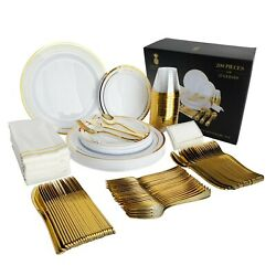 200 Piece Gold Plastic Disposable Dinnerware Set amp; Plates for 25 Party Guests $39.99