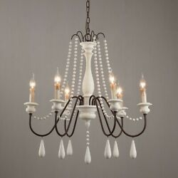 French Country 6 Light Wooden Chandelier White Wood Bead Swag Kitchen Pendant $215.99