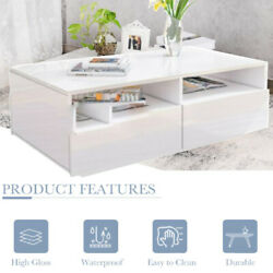 High Gloss LED Coffee Sofa End Table White 33.5