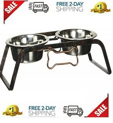 Elevated Pet Feeder Dogs Raised Stainless Steel Bowl Food Water Dish $23.25