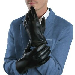 Mens Black Leather Gloves Cashmere lined Genuine Leather Touchscreen Winter $22.99