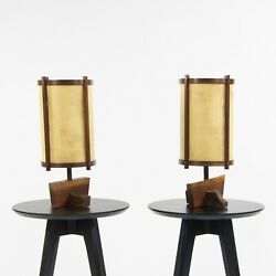 Pair Don Yacovella Nakashima Influenced Walnut Table Desk Lamps Bucks County PA $725.00