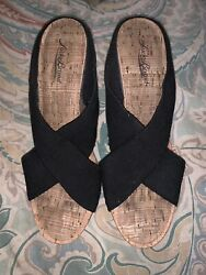 Lucky Brand Miller 2 Wedge Black amp; Cork Sandals Shoes 9M $19.99