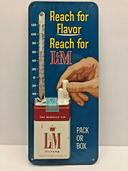 Reach for L & M Cigarette Metal Tin Litho Tacker Thermometer Sign $111.17