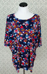 Womens Lularoe Short Sleeve Irma Top High Low Plus Size 2XL Vibrant Floral Print $19.98