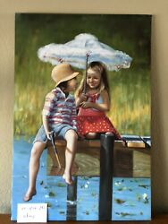 Original Oil On Canvas Children On The Dock $250.00