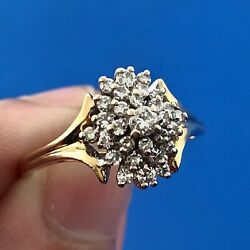 Tru Glo 14K Yellow Gold Diamond Waterfall Cluster Engagement Cocktail Ring $725.00