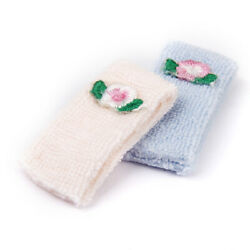 2x 1:12 Dollhouse Mini Bathroom Flower Pink and Blue Towels Set Accessories $6.52
