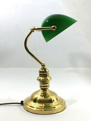Stunning BANKERS Desk Library Reading Vintage Brass Lamp Green Shade