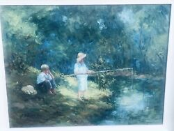 Missouri  German Artist EMILY SUMMA Beautifull Painting Oil On Canves Fising On $799.00