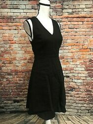 THEORY Black Linen Sleeveless Fit & Flare Dress Lace Trim Design Size 2 $36.00
