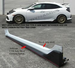 NEW 17 20 HONDA CIVIC HATCH 5DR TYPE R STYLE SIDE SKIRT EXTENSION PP CARBON LOOK $209.95