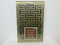 "Allen amp; Roth Steel Antique Brass Floor Register Vent 6""x 10"" Adjustable Damper $14.39"