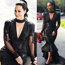 Black Gothic Wedding Dresses Mermaid Bridal Gowns Beaded Sexy V neck Long Sleeve