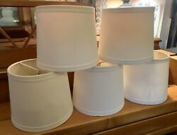 Set of 5 Clip On LAMP SHADES Off White Dining Room