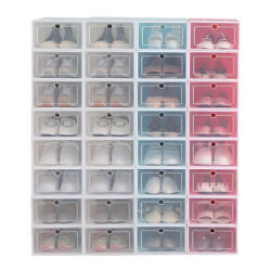 12 96pack Foldable Shoe Box Storage Clear Plastic Case Stackable Organize wholes $27.99