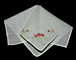 vintage handkerchief HANKIE shabby home chic LITTLE BEAUTY graceful EMBROIDERY $8.00