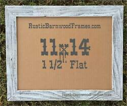 11x14quot; Flat WHITE BEACH WASHED rustic barn primitive picture frame upcycled wood $20.00