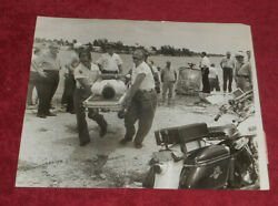 1962 Press Photo Man Carried From Helicopter Crash Accident Miami Area Florida $7.44