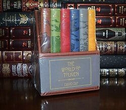 New Tolkien Hobbits Atlas Battles Heroes David Day Sealed Boxed Set Leather Feel $79.88
