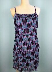 Express Small Black Paisley Ruffled Sundress Spaghetti Strap Netting Fabric