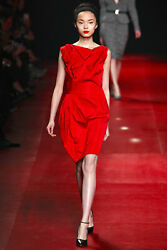 AUTH RUNWAY NINA RICCI COCKTAIL RED ROSETTE RUCHED DRESS FR38 $349.99