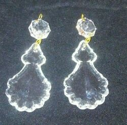 Pair Vintage Chandelier Cut Crystal Glass French Angel Pendalogue Prisms NOS $8.99