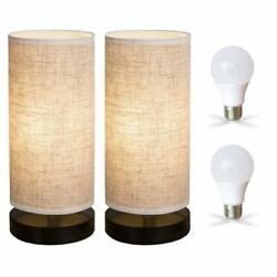 Zeefo Bedside Table Lamp Modern Simple Design Desk Lamp With Cylinder Fabric Sh