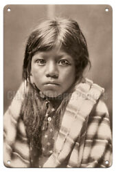 Ah Chee Lo Portrait of a Child - Edward Curtis Vintage Photograph Metal Tin Sign $14.98