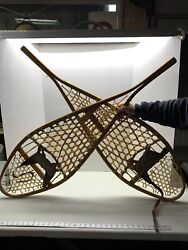 GREAT ANTIQUE SNOWSHOES 48x14 WIDE SNOW SHOES w Leather Bindings W@W $125.00